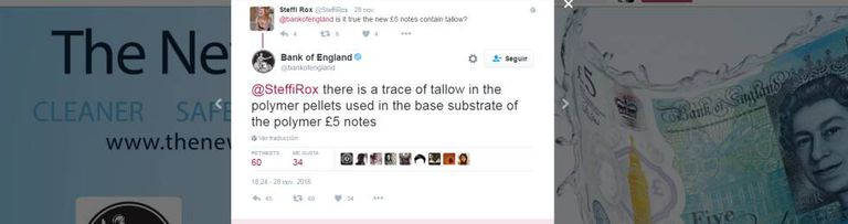 O Banco da Inglaterra admitiu no Twitter que as notas contêm sebo.