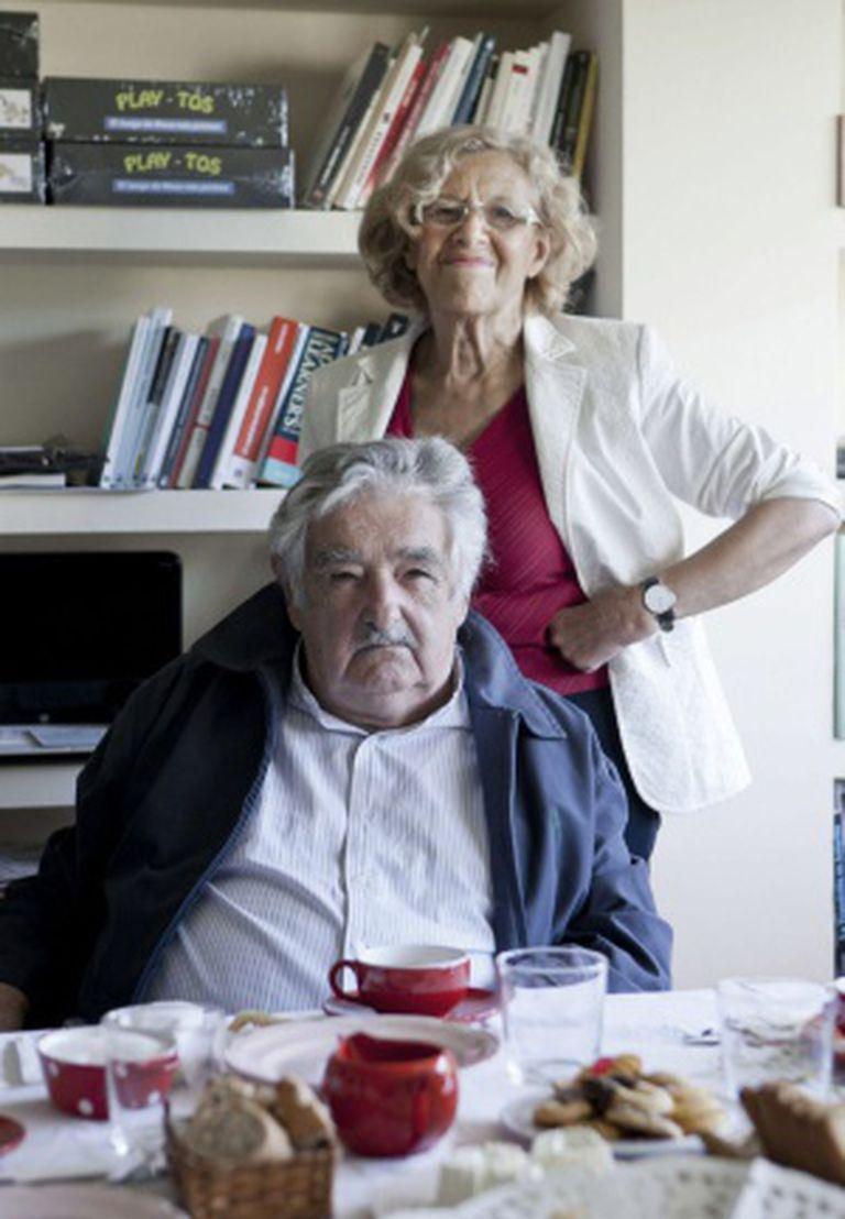 José Mujica e a prefeita de Madri, Manuela Carmena.