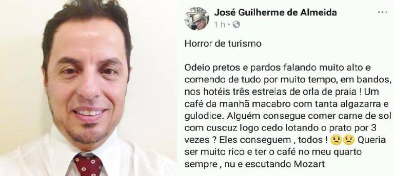 Professor apagou perfil nas redes sociais após a publicação.