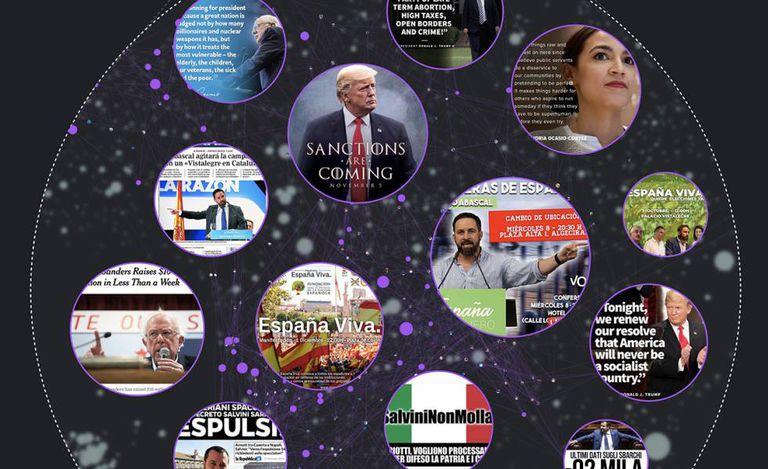 Seleção de memes das contas de Salvini, Trump, Ocasio-Cortez, Abascal e Sanders