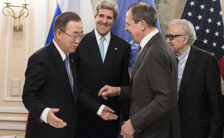 Ban Ki-moon, John Kerry, Sergei Lavrov e Lakhdar Brahimi, em Munique.