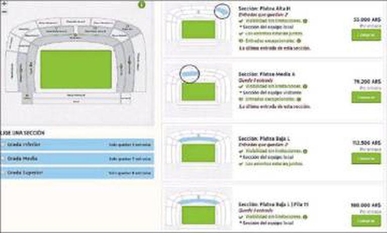 Um site de revenda oferece entradas para o Boca x River por 180.00 pesos (18.500 reais)