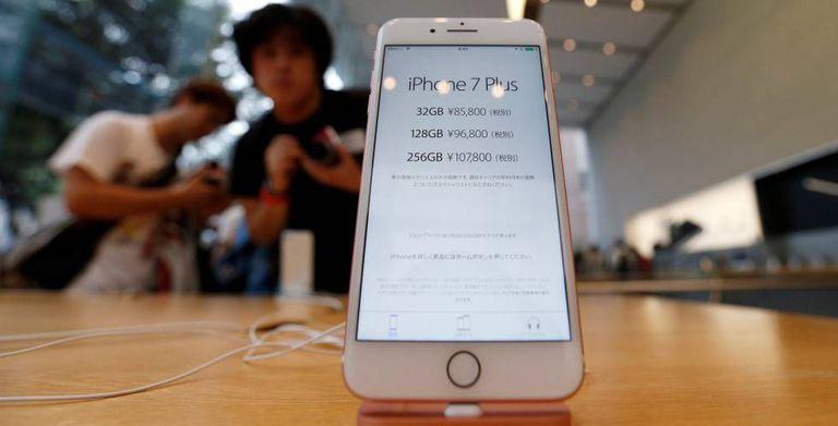 O iPhone 7 exposto.