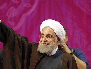 Hassan Rohani, em um ato de sua campanha em 9 de maio.