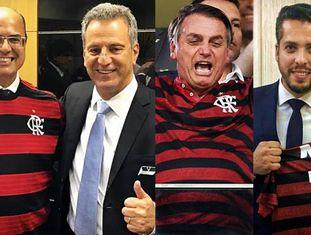 Witzel com Rodolfo Landim (à esq.), Bolsonaro e Rodrigo Amorim (à dir.): clube se aproxima de políticos ultraconservadores.