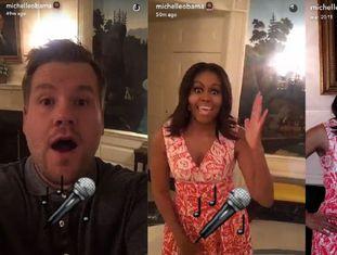 Capturas do Snapchat de Michelle Obama, nas quais a primeira dama do EUA aparece ao lado do apresentador James Corden.