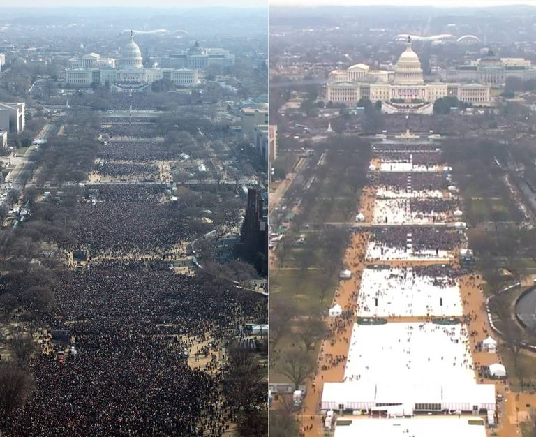 A posse de Obama (esquerda) em comparação com a de Donald Trump (direita).