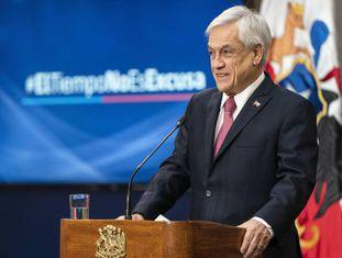 O presidente de Chile, Sebastián Piñera, no ato de promulgação da lei.