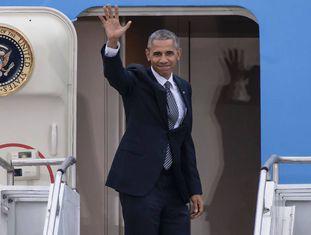 O presidente dos EUA, Barack Obama, antes de deixar Berlim rumo a Lima.