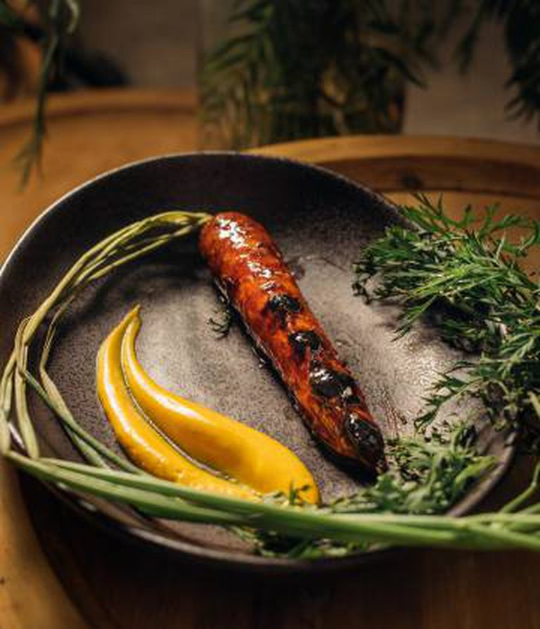 A dish of barbecued carrots by chef Xavier Pellicer.