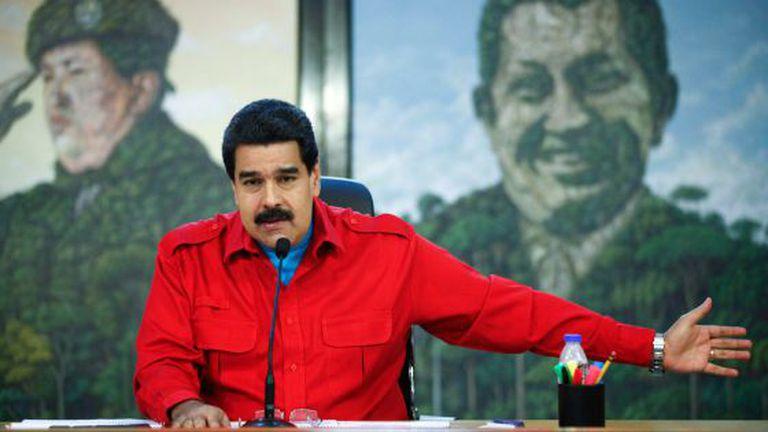 Presidente Nicolas Maduro fala no palácio de Miraflores.