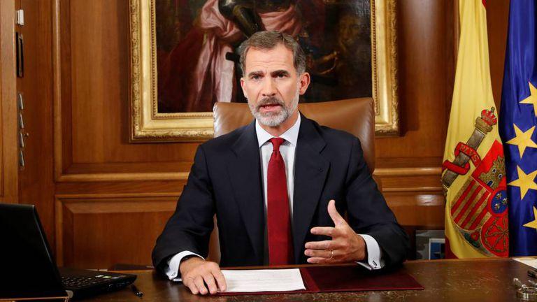 O rei Felipe VI, durante pronunciamento sobre o referendo catalão, nesta terça-feira.