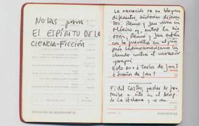 Anotações de Roberto Bolaño para seu romance 'O espírito da ficção científica'.