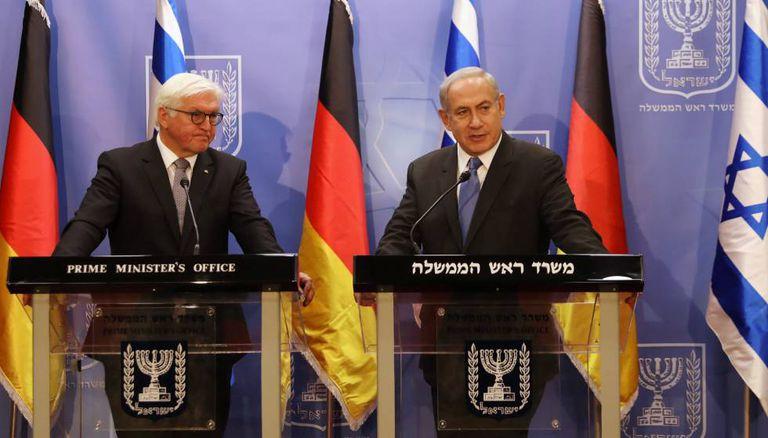 O presidente da Alemanha, Frank-Walter Steinmeier, e o primeiro-ministro israelense, Benjamin Netanyahu, em Jerusalém.