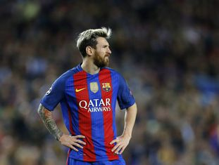 Messi no Camp Nou durante o jogo contra o Manchester City.
