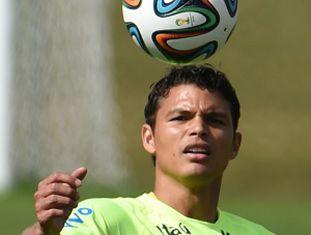 Thiago Silva durante um treino.