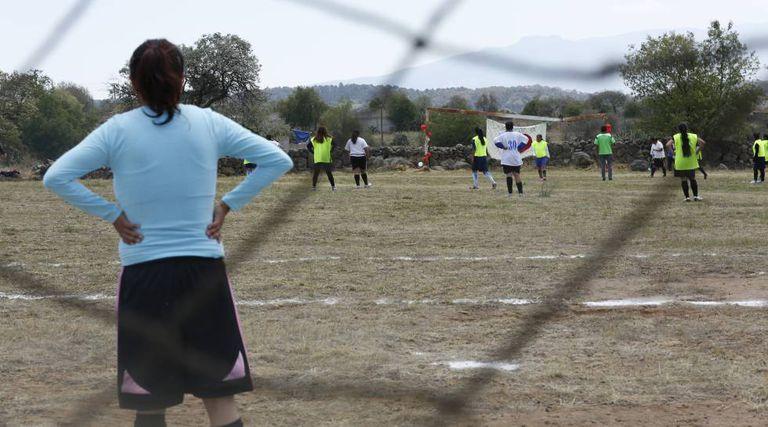 A equipe mazahua, durante um jogo realizado em Jocotitlán