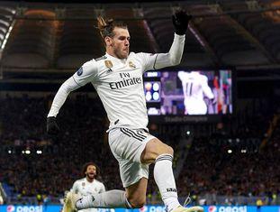 Bale comemora o primeiro gol do Real Madrid contra a Roma, no Olímpico.