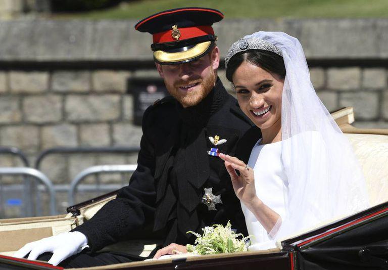 O príncipe Harry e Meghan Markle, no dia em que casaram.
