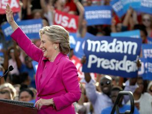 A candidata democrata, Hillary Clinton, na Carolina do Norte.