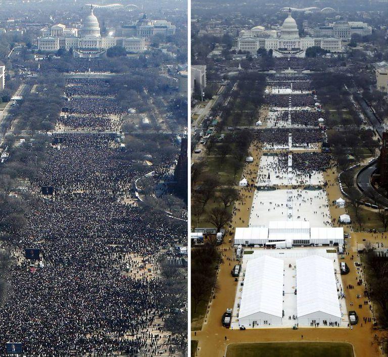 Vista do National Mall na posse de Obama (esq.), em 2009, e de Trump (dir.), em 2017.