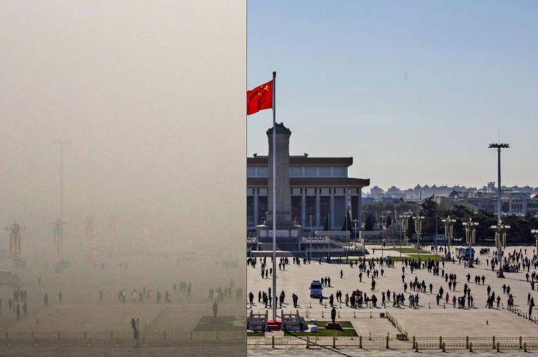 Clique na imagem. Veja o antes e o depois dos níveis de poluição em vários lugares emblemáticos de Pequim, em dezembro de 2015.