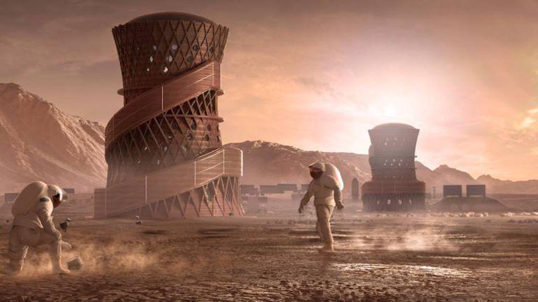 Maquete de uma colônia humana no espaço criada com impressão 3D. Esta imagem pertence à proposta da Team SEArch Apis Cor, uma das ganhadoras do concurso da NASA