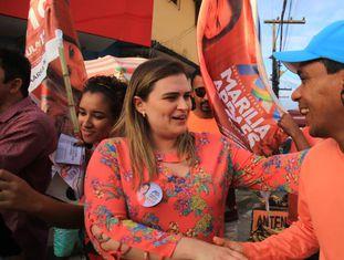 Marília Arraes, em ato de campanha.