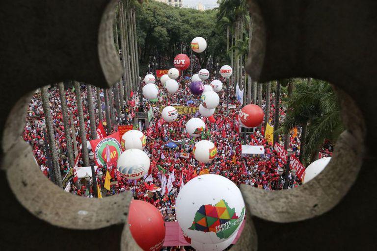 Ato anti-impeachment na Sé, no último dia 31.