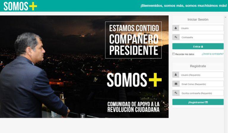 Foto da página principal da campanha 'Somos +' de Rafael Correa.