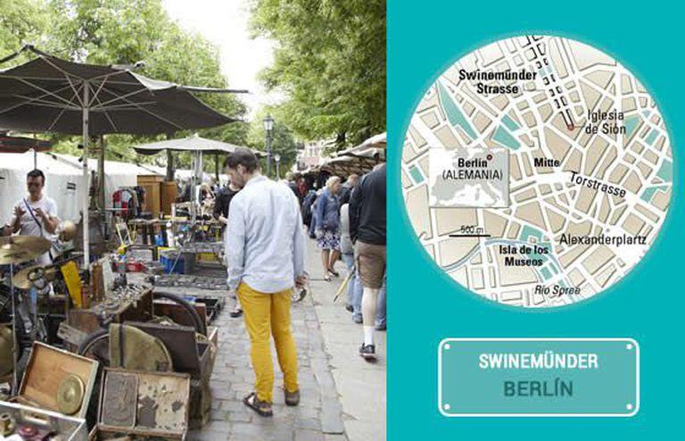 O mercado de domingo na rua Swinemünder, em Berlim.