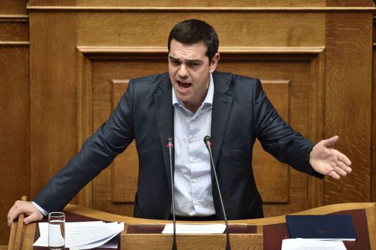 Alexis Tsipras, durante uma sessão parlamentar, nesta segunda-feira em Atenas.