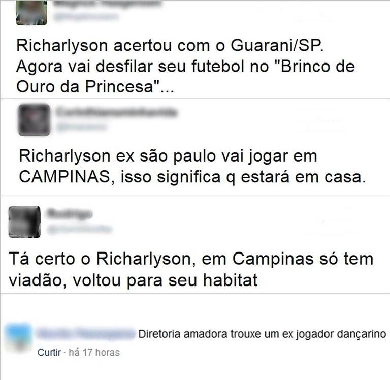 Torcedores ironizam a contratação de Richarlyson nas redes sociais.