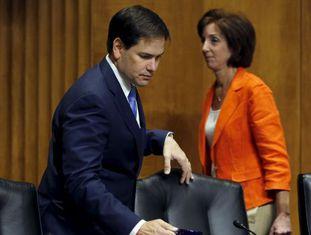 A negociadora-chefe dos EUA, Roberta Jacobson, e o senador Marco Rubio.