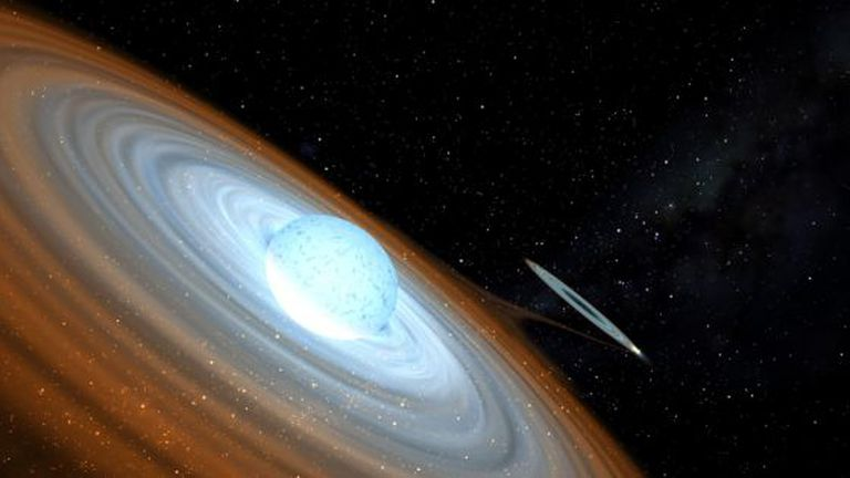 Reconstrução de um buraco negro de um sistema binário.