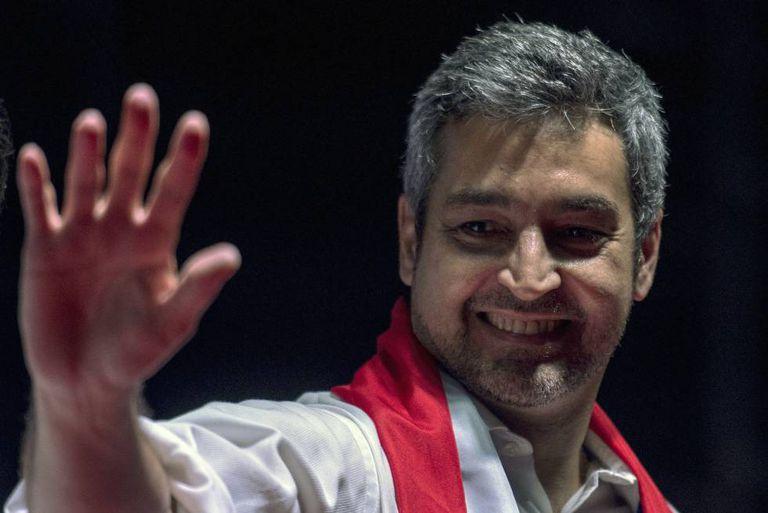 Mario Abdo Benítez na quinta-feira, durante o encerramento da campanha do Partido Colorado em Itaguá, nos arredores de Assunção.