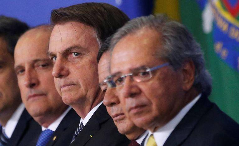 Onyx, Bolsonaro, Mourão e Guedes, no Planalto.