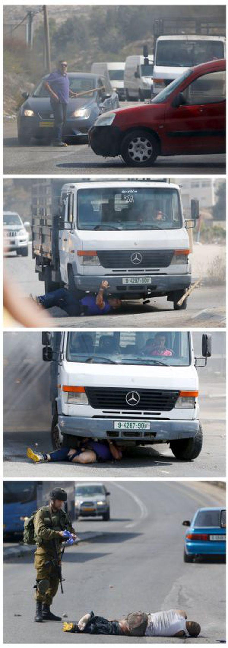 Momento em que um colono judeu é atropelado por um motorista palestino na Cisjordânia.