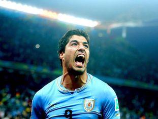 Luis Suárez em partida do Uruguai.