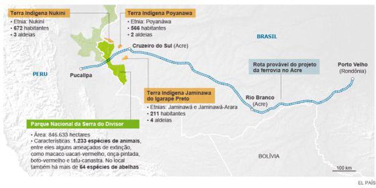 Rota provável do último trecho brasileiro da ferrovia Bioceânica.
