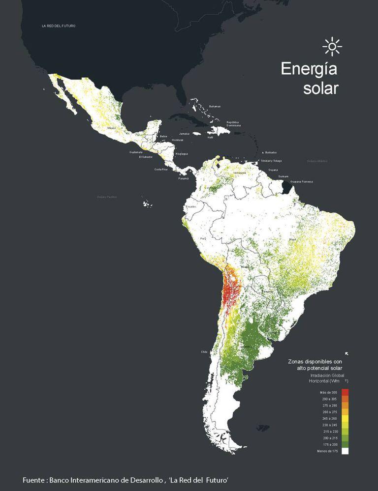 Potencial de energia solar em América Latina.