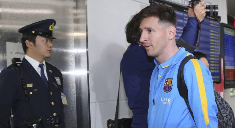 Messi, na chegada do Barça ao Japão.