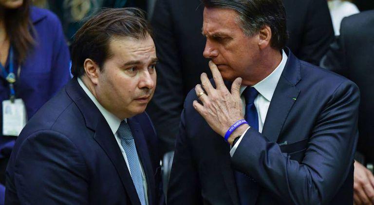 Rodrigo Maia e Jair Bolsonaro, na Câmara.