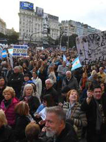 A manifestação de apoio ao Governo de Mauricio Macri andou do Obelisco de Buenos Aires até a Praça de Maio.