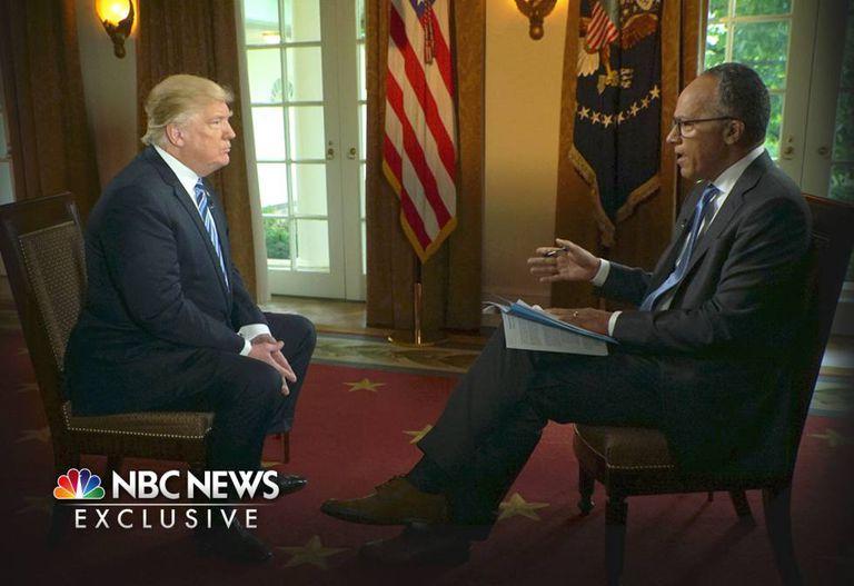 Donald Trump, entrevistado por Lester Holt na NBC.