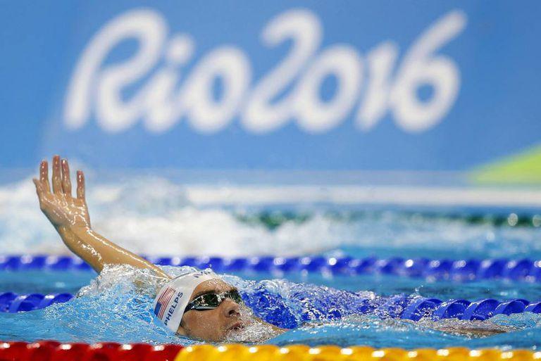 Phelps treina na piscina do Parque Olímpico do Rio.