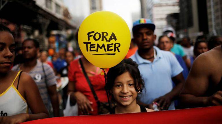 Protesto na avenida Paulista contra Temer no domingo.