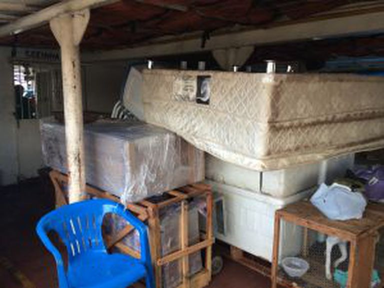 Camas, colchões, móveis e animais no primeiro andar do barco.