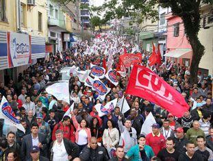 Protesto da CUT em São Bernardo do Campo.