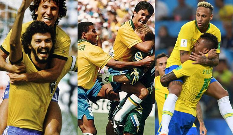 Seleções brasileiras de 1982, 1994 e 2018.